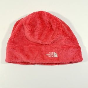 The north face fuzzy hot pink Fusia beanie hat